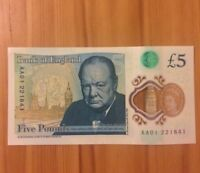 AA01 Series New Polymer £5 Note AA01 Very Rare £5 Note Very Good Condition