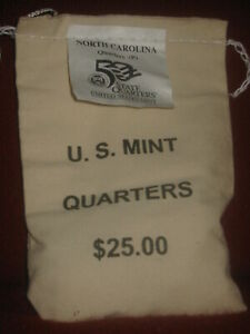 NORTH CAROLINA(NC-P) StateQuarters US Mint Sewn UnOpened $25 Bag QE1 [100 coins]