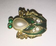 """Vintage Green Beetle Bug Insect Cicada Pin Brooch Retro Gems Jewels 1"""""""