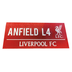 LIVERPOOL FC STEEL FULL COLOUR RED STREET SIGN OFFICIALLY LICENSED ANFIELD ROAD
