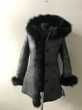 Ladies Vintage Black Fur Trim Shearling Coat Silver Lurex Print Size Extra Small