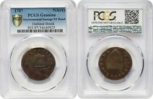 USA, New Jersey, 1787, Outlined Shield, PCGS Genuine VF Detail Env. Damage