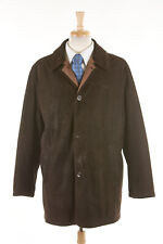 Mens GIMO'S Coat L (42R) Chocolate Brown Suede Leather Car Coat Wool Lined ITALY