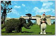 Strolling Topiary Lane Dumbo Monorail Walt Disney World Florida Postcard Unused