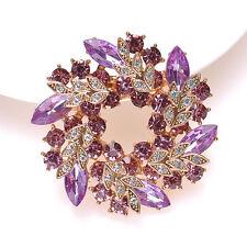 Wedding Bridal Bouquet Brooch Pin Women Rhinestone Crystal Flower Brooch Gift