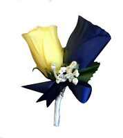 Boutonniere - Navy Blue Yellow Rose baby breath Artificial prom wedding dance