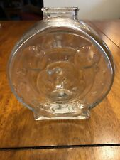 Vintage Anchor Hocking Clear Glass Walt Disney Mickey Mouse & Minnie Mouse Bank