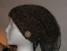 HAND KNITTED GORGEOUS BLACK BROWN BOUCLE HAT WITH VINTAGE BUTTON