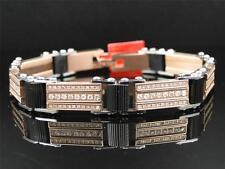 Mens Genuine Diamond 12.5MM Stainless Steel Rose and Black Bangle Bracelet 1.8Ct