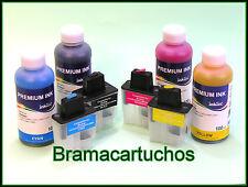 4 CARTUCHOS RELLENABLES PARA BROTHER LC 900 LC950 y 4 BOTELLAS DE TINTA LC 900