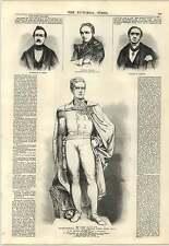 1847 líderes suizo general Dufour Fourier Ochsenbein John Thomas Jones Grabado