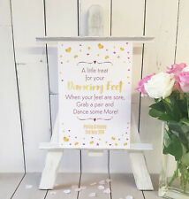Personalised little treat for your dancing feet flip-flop Wedding sign gold/pink