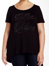 Vanilla Sugar Woman's Plus Size 1X  Black Be Mine Short Sleeve Top NWOT