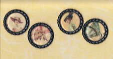 Graphic45 A LADIES' DIARY #ALD113 (4) Black Flat Bottle Cap Accents HANDMADE