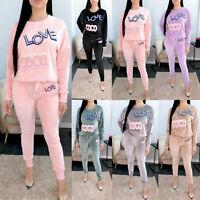 Ladies Womens 2 Pc Velour Love Coco Tracksuit Co-Ord Set Loungewear Jog suit