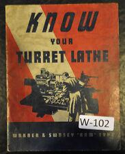 Warner Amp Swasey Turret Lathe No 3 4 5 Service Manual