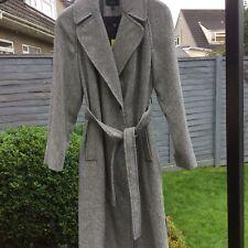 Karen Millen Oversized Black & White Dogtooth Full Length Wool Blend Coat UK12
