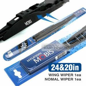 "OEM Genuine Parts J-Hook Wing Windshield Wiper Blades 24"" + 20"" Black 2Pcs Set"