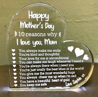 ❤️ Premium Mothers Day Gift - Personalised - Engraved - Love Heart Glass