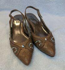 Kathy Van Zeeland Womens Shoe Heel Brown Leather Jewel Embellish 9M