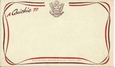 """WWII era Military Service """"a Quickie To"""" Note Postcard Unused."""