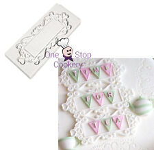 Katy Sue Heart RECTANGLE Decorative Plaque Silicone Sugarcraft Cake Mould