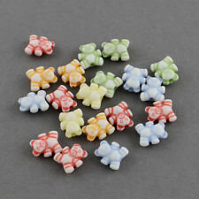 200 MIXED PASTEL COLOUR TEDDY BEAR BEADS  - JEWELLERY MAKING - FREE SAME DAY P&P