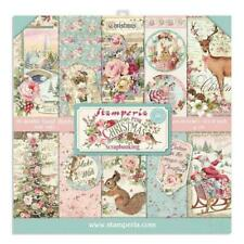 "Stamperia 'PINK CHRISTMAS' 12x12"" Paper Pad 10 Sheets Vintage Card Making"