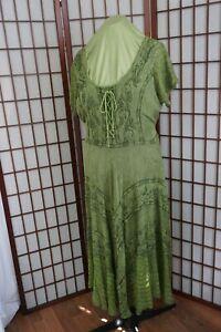 Advance Apparels Vintage Rayon Green Hippie Boho Peasant Festival Dress Size XXL