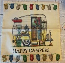 """Throw Pillow Cover Vintage TRAVEL Camper 17"""" x 17 Camping Happer Campers RV"""