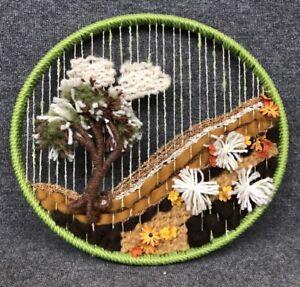 """19"""" Oval Vintage Fiber Textile Art Mid Century Wall Hanging Yarn Wool Tree Mod"""