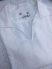 Para hombres Camisa siguiente Blanco 100% Lino Túnica Manga Corta Vacaciones Verano Medio