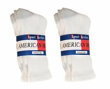 $averPak American Made Cotton Blend Crew Socks 6 Pair CSWG (Size 10-13)