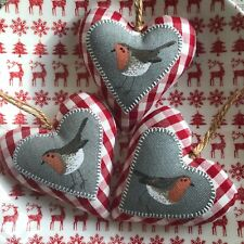 3 Sophie Allport Robins on Red & White Gingham Organic Cotton fabric hearts