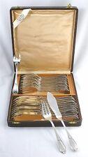 Ercuis modèle Louis XV 12 couverts à poisson 24 pc métal argenté, excellent état