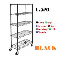 5 Shelf Chrome 1.5M Wire Shelving Racking Heavy Duty Storage with Wheels DCUK