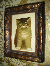 CAT SITS FOR PORTRAIT 3 X 4 tiny wood framed picture Victorian style art print