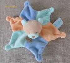 Baby Nat***Doudou plat ours  bleu vert beige orange