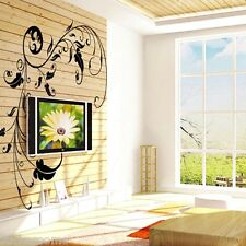 Noir vigne Fleurs amovible Stickers énorme mur Art Salon Décoration