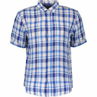 RACING GREEN Men's Pure Linen Checkered Casual Shirt, Blue & White, size S M