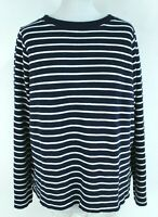 Zara Trafaluc NEW Navy Blue Striped Long Sleeve Round Neck Women Top Size M