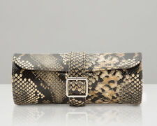 WOLF 462822 Exotic Triple Watch Roll Tan Python Embossed Leather