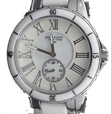 NWT Anne Klein 12/2163WMWB Women's Ceramic/Stainless Steel Mother of Pearl Watch