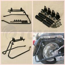 Black Saddlebag Conversion Brackets Hardware Kit For Harley Davidson Softail TC