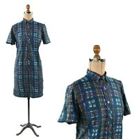 Vintage 50s Combed Cotton Blue Abstract Plaid Novelty Print Shirt Shift Dress S