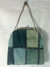 Vintage Handcrafted Velvet Velour Patchwork Purse Handbag Silver Chain Clasp