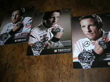 3 x Jenson Button full-page Heuer Carrera Calibre chronograph ads: 1887 / 16 etc