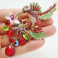 Charming Multi-color Wings Hummingbird Flower Cluster Crystal Bird Brooch Pin
