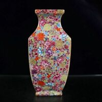 "9.6"" China Porcelain Draw Gold Colour Enamels Ten Thousand Flower All Sides Vase"