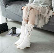 Women's Fashion Round Toes Patent Leather Sweet Lace Bow Knot Mid-calf Boots Luc